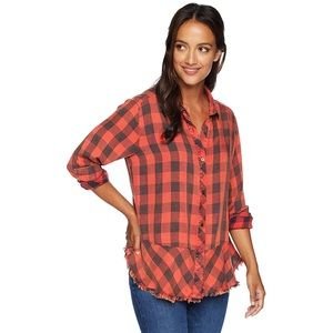 NEW Democracy Red & Black Plaid Button Down Shirt